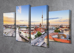 Berlin skyline on the Spree River 4 Split Panel Canvas  - Canvas Art Rocks - 2
