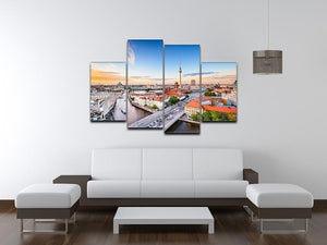 Berlin skyline on the Spree River 4 Split Panel Canvas  - Canvas Art Rocks - 3