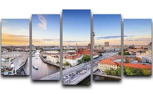 Berlin skyline on the Spree River 5 Split Panel Canvas  - Canvas Art Rocks - 1