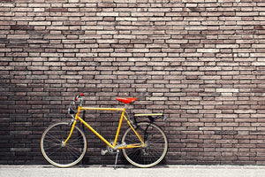 Bicycle on roadside with vintage brick Wall Mural Wallpaper - Canvas Art Rocks - 1