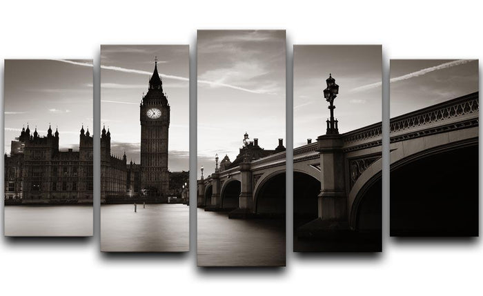 Big Ben and House of Parliament dusk panorama 5 Split Panel Canvas