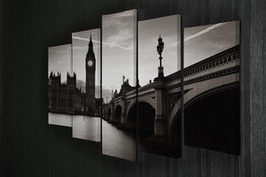Big Ben and House of Parliament dusk panorama 5 Split Panel Canvas  - Canvas Art Rocks - 2