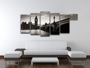 Big Ben and House of Parliament dusk panorama 5 Split Panel Canvas  - Canvas Art Rocks - 3