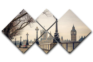 Big Ben and Houses of parliament 4 Square Multi Panel Canvas  - Canvas Art Rocks - 1