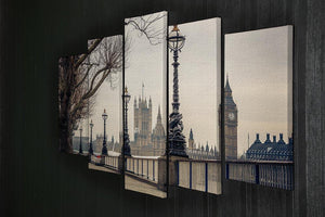 Big Ben and Houses of parliament 5 Split Panel Canvas  - Canvas Art Rocks - 2
