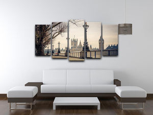 Big Ben and Houses of parliament 5 Split Panel Canvas  - Canvas Art Rocks - 3
