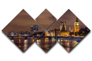 Big Ben and Westminster Bridge 4 Square Multi Panel Canvas  - Canvas Art Rocks - 1