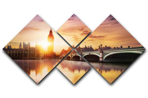 Big Ben and Westminster Bridge at dusk 4 Square Multi Panel Canvas  - Canvas Art Rocks - 1
