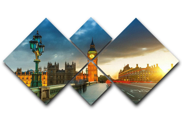 Big Ben at sunset 4 Square Multi Panel Canvas