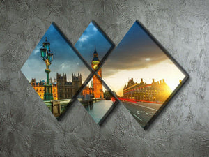Big Ben at sunset 4 Square Multi Panel Canvas  - Canvas Art Rocks - 2