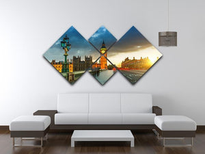 Big Ben at sunset 4 Square Multi Panel Canvas  - Canvas Art Rocks - 3