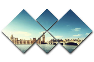 Big Ben in sunny day 4 Square Multi Panel Canvas  - Canvas Art Rocks - 1