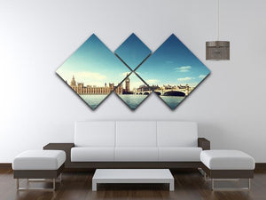 Big Ben in sunny day 4 Square Multi Panel Canvas  - Canvas Art Rocks - 3
