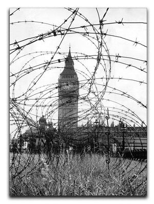 Big Ben through barbed wire Canvas Print or Poster  - Canvas Art Rocks - 1