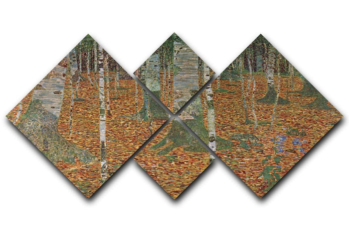 Birch Forest by Klimt 4 Square Multi Panel Canvas