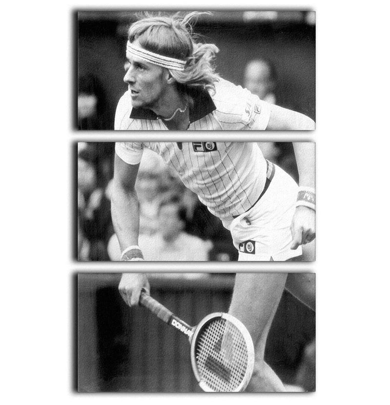 Bjorn Borg in action at Wimbledon 3 Split Panel Canvas Print - Canvas Art Rocks - 1