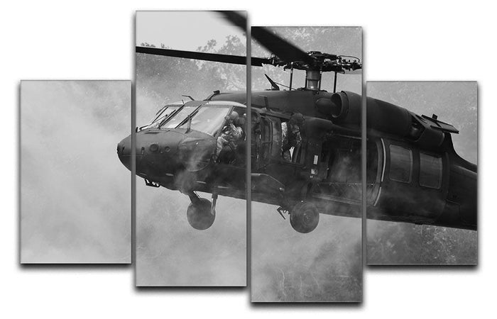Black Hawk Helicopter 4 Split Panel Canvas