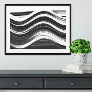 Black and White Wave Framed Print - Canvas Art Rocks - 1