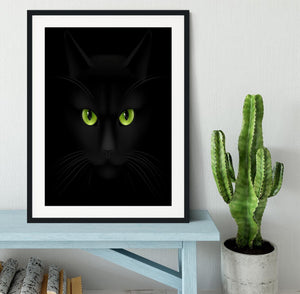 Black cat with green eyes Framed Print - Canvas Art Rocks - 1