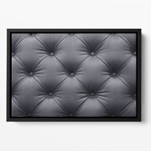 Black leather sofa texture Floating Framed Canvas