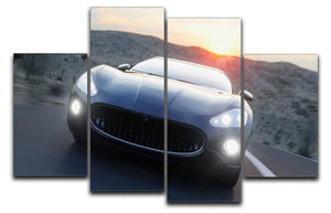 Black sport car on road 4 Split Panel Canvas  - Canvas Art Rocks - 1