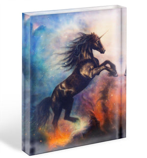 Black unicorn dancing in space Acrylic Block - Canvas Art Rocks - 1