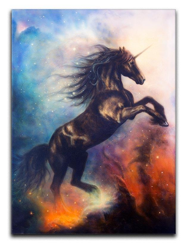 Black unicorn dancing in space Canvas Print or Poster