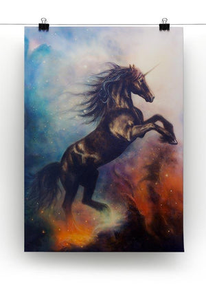 Black unicorn dancing in space Canvas Print or Poster - Canvas Art Rocks - 2