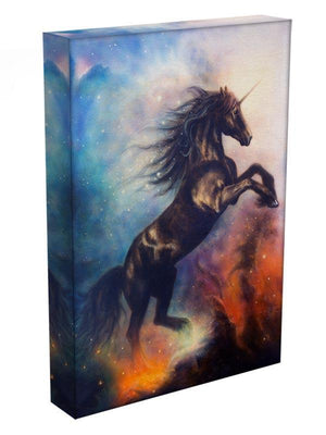 Black unicorn dancing in space Canvas Print or Poster - Canvas Art Rocks - 3