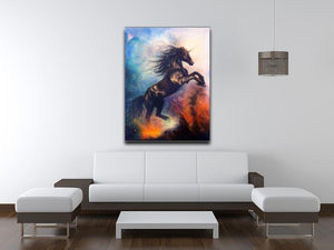 Black unicorn dancing in space Canvas Print or Poster - Canvas Art Rocks - 4