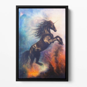 Black unicorn dancing in space Floating Framed Canvas