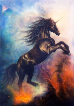 Black unicorn dancing in space Wall Mural Wallpaper - Canvas Art Rocks - 1