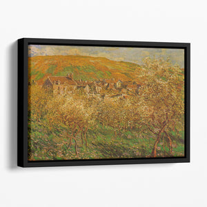 Blooming apple trees by Monet Floating Framed Canvas