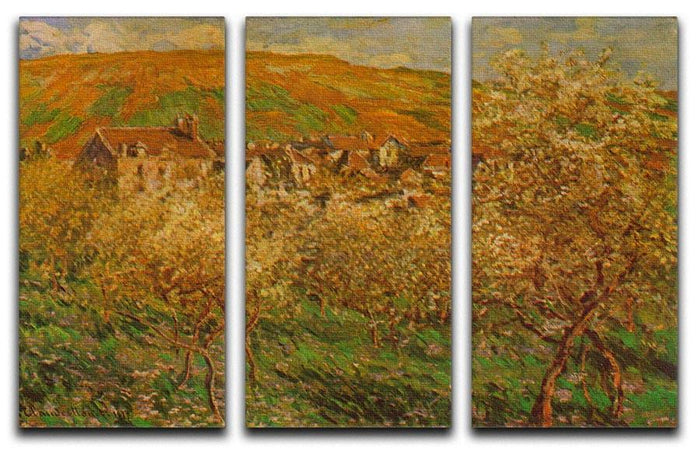 Blooming apple trees by Monet Split Panel Canvas Print