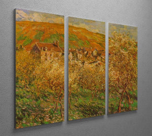 Blooming apple trees by Monet Split Panel Canvas Print - Canvas Art Rocks - 4