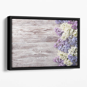 Blossom branch on wooden Floating Framed Canvas