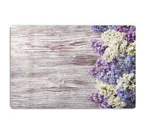 Blossom branch on wooden HD Metal Print