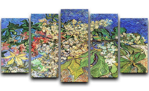 Blossoming Chestnut Branches by Van Gogh 5 Split Panel Canvas  - Canvas Art Rocks - 1