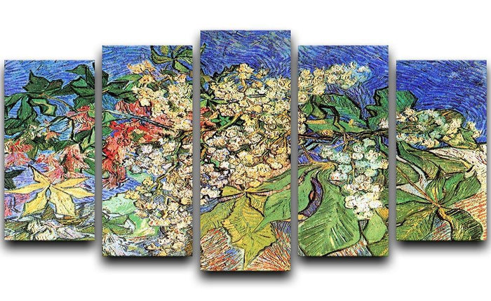 Blossoming Chestnut Branches by Van Gogh 5 Split Panel Canvas