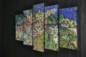Blossoming Chestnut Branches by Van Gogh 5 Split Panel Canvas - Canvas Art Rocks - 2