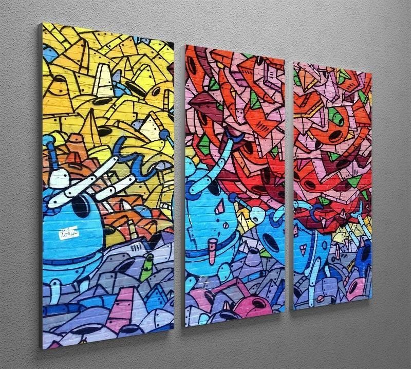 Blue Robot Graffiti 3 Split Panel Canvas Print - Canvas Art Rocks - 2
