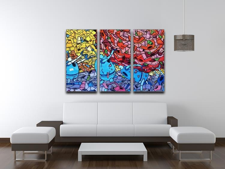 Blue Robot Graffiti 3 Split Panel Canvas Print - Canvas Art Rocks - 3