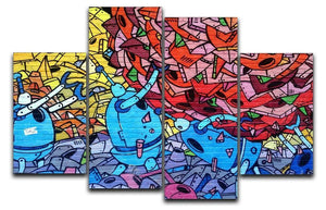 Blue Robot Graffiti 4 Split Panel Canvas  - Canvas Art Rocks - 1