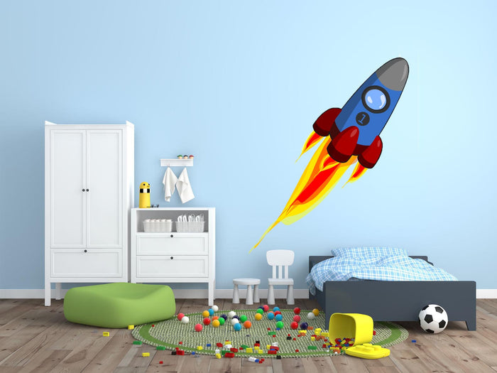 Blue Space Rocket Wall Sticker