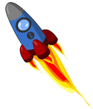 Blue Space Rocket Wall Decal - Canvas Art Rocks - 3