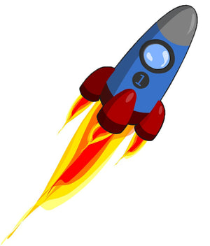 Blue Space Rocket Wall Decal - Canvas Art Rocks - 2
