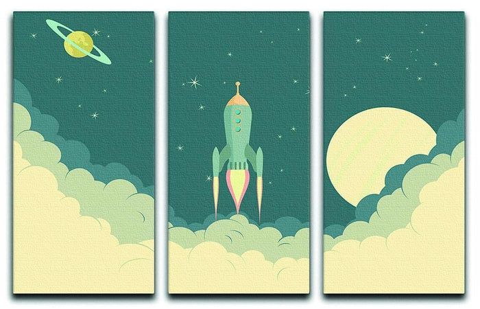Blue Spaceship taking off 3 Split Panel Canvas Print