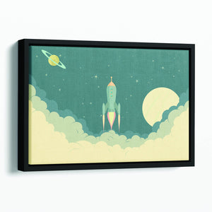 Blue Spaceship taking off Floating Framed Canvas