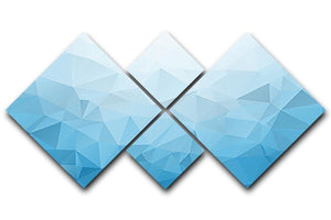 Blue Triangle Texture 4 Square Multi Panel Canvas  - Canvas Art Rocks - 1