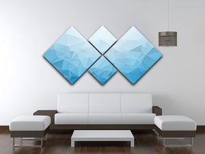 Blue Triangle Texture 4 Square Multi Panel Canvas  - Canvas Art Rocks - 3